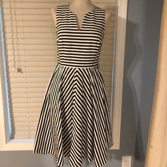 3c4d68c90d26 Ann Taylor Dresses   Skirts - Ann Taylor Black   White Striped Flared Dress